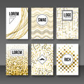Set of greeting cards, gift tags, certificate. Golden banners postcards shapes Royalty Free Stock Photo
