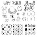Set of greeting cards seamless patterns with easter eggs doodles. Vector illustration