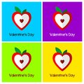 A set of greeting cards for Valentine`s Day. Heart stylized in a sweet fruit Royalty Free Stock Photo
