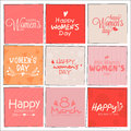 Set of greeting cards for Women's Day celebration.