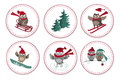 Set of greeting labels with cute owls and fir tree.