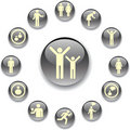 Set grey buttons - 3. People Stock Photo