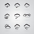Set of grey weather icons Stock Images
