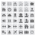 Set of grey web multimedia and business icons on a white background Royalty Free Stock Photography