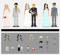 Set of grooms and brides this is file of eps format Royalty Free Stock Photo