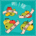 Set of groups of fruits such as apples and pears