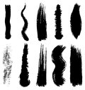 Set of grunge brush smoothed strokes Royalty Free Stock Images