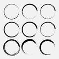 Set of grunge circles. Vector grunge round shapes. Royalty Free Stock Photo