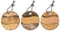 Set of Grunge Circular Wooden Tags - 3 items Royalty Free Stock Photo