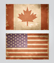 Set of grunge flags USA and Canada