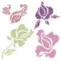 Set of grunge floral design elements Royalty Free Stock Photo