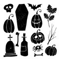 Set of grunge Halloween graphic elements. Royalty Free Stock Photo