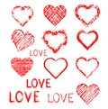 Set of grunge hearts and word love Stock Photo