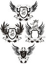 Set of grunge  heraldic shileds with gryphon Royalty Free Stock Photo