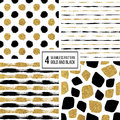 Set of grunge seamless pattern black gold stripes, polka dots, mosaic spots