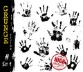 Set of Grunge style handprints . Elements vector