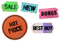 Set of grungy promotional stickers Royalty Free Stock Photography