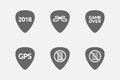 Set of guitar plectrums with technology related icons