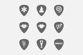 Set of guitar plectrums with Zen and relaxation related icons