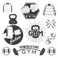 Set of gym labels in retro style. Sport fitness emblems, badges and logos for design. Vector illustration Royalty Free Stock Photo