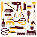 Set of haircutting tool illustration icons silhouette on white background Stock Photography