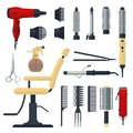 Set of hairdresser objects in flat style isolated on white background. Hair salon equipment and tools logo icons, hairdryer, comb,