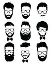 Set of hairstyles for men in glasses. Collection of black silhouettes of hairstyles and beards. Vector illustration for