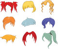 A set of hairstyles wigs for illustrations various colour Stock Photo