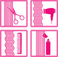 Set of hairstyling icon Royalty Free Stock Photos