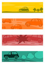 Set of half banners with retro cars a banner silhouettes vintage Stock Photos