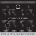 Set of halftone continents for design vector Royalty Free Stock Photos