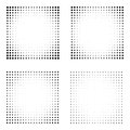 Set of Halftone squares isolated on the white background. Collection of halftone effect dot patterns. Rectangle black illustration Royalty Free Stock Photo