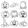 A set of Halloween attributes - pumpkins with different smiles, a tombstone, a witch`s hat, a pot of potions and a moon. Royalty Free Stock Photo