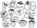 Set of halloween cartoon line art Stock Image