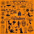 Set of halloween decorative elements.Hand drawn icons Royalty Free Stock Photo
