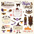 Set of halloween design elements color version Royalty Free Stock Photography