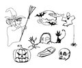 Set with halloween doodles illustration Royalty Free Stock Photos