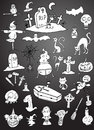 Set halloween figures of hand drawn vector illustration on black background Royalty Free Stock Photo