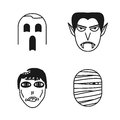 Set of halloween funny peoples icons