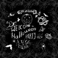Set of Halloween hand drawn elements, lettering and spiderweb frame for greeting cards or invitation. Hand drawn sketches for your Royalty Free Stock Photo