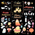 Set for halloween the holiday logos and images the holiday vector illustration Royalty Free Stock Photography