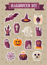 Set of halloween icons. Vector sticker Royalty Free Stock Photo