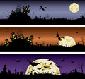 Set of halloween night banners vector illustration Stock Photo