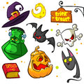 Set of Halloween pumpkin and attributes icons. Royalty Free Stock Photo