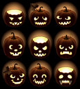 Set of Halloween pumpkins Jack O'Lantern Stock Photos