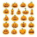 Set of Halloween scary pumpkins. Flat style spooky creepy pumpkins Royalty Free Stock Photo
