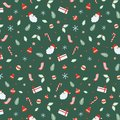 Christmas seamless pattern with Santa Claus, Bells, Xmas ball, candy canes, gift, socks, Christmas leaf, branch Christmas Hand dra