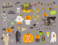 Set of halloween sign and symbol, Royalty Free Stock Photo