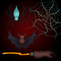 Set for Halloween spider, bat, broom Royalty Free Stock Photo