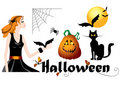 Set of halloween symbols Stock Image
